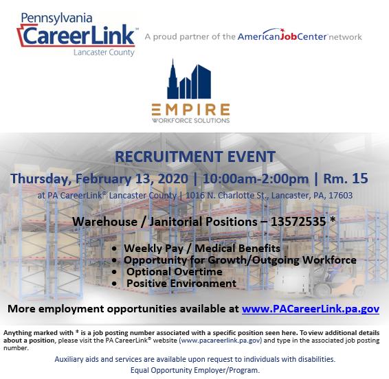 Empire Recruiting Event Feb. 13th